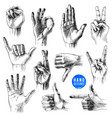 set different hand drawn gestures vector image