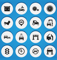 Set of 16 editable vehicle icons includes symbols