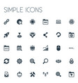 set of simple seo icons vector image