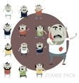 Set of zombie cartoon icons vector image vector image