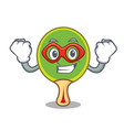 super hero ping pong racket character cartoon vector image
