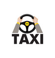 taxi driver hands holding steering wheel vector image