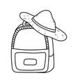 travel bag with hat tourism vector image vector image