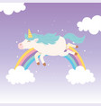 unicorn rainbow starry sky clouds magical fantasy vector image vector image