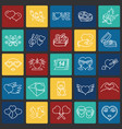 valentines day thin line set on color squares vector image