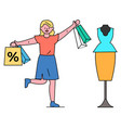 woman shopping at boutique on discounts and sales vector image vector image