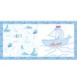 Baby card sea motif with ships vector image