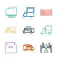 9 deliver icons vector image vector image