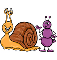 ant and snail cartoon vector image vector image