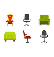 armchair icon set flat style vector image vector image