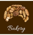 Bakery shop croissant symbol of bread icons vector image vector image