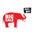big sale banner with red elephant vector image