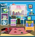 boy bedroom interior vector image vector image