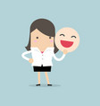 businesswoman holding a smile mask vector image vector image