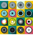 Camera shutter icons set flat style vector image