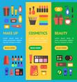 cartoon beauty cosmetics store banner vecrtical vector image vector image