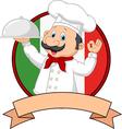 Cartoon funny Italian Chef cartoon holding platter vector image vector image
