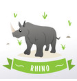cartoon rhino mascot vector image vector image
