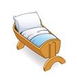 cartoon wooden infant cot crib bed vector image vector image