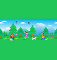 children in mount landscape seamless vector image vector image
