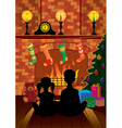 christmas eve by the fireplace vector image vector image