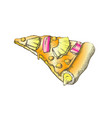color vegetarian italian slice pizza hand drawn vector image