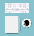 computer keyboard set isolated mint background vector image vector image
