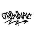 criminal graffiti tag vector image vector image