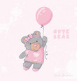 cute bear flying with a balloon vector image