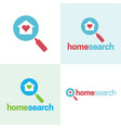 cute house and magnifying glass logo and icon vector image vector image