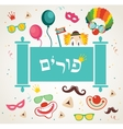 design for Jewish holiday Purim with masks and vector image vector image