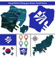 dong district busan city south korea vector image vector image