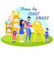 family cartoon dream big start small motivate text vector image vector image