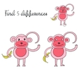 Find differences kids layout for game monkey vector image