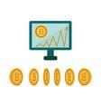 flat desktop computer monitor bitcoin chart vector image