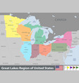 great lakes region united states vector image vector image