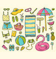 hand-drawn summer elements collection vector image