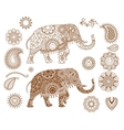 Indian elephant with mehendi patterns vector image vector image