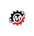 letter m gear logo design template vector image vector image