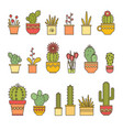 linear design cacti and flowers in pots elements vector image
