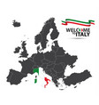 map of europe with the state of italy vector image vector image