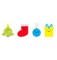 merry christmas icon set fir tree ball toy sock vector image vector image