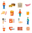 Obesity Problem Icons vector image