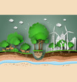 paper cut of eco vector image vector image