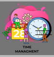 people near clock and calendar time management vector image