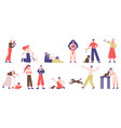 people with pets pet owners playing walking vector image vector image