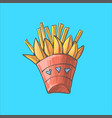 potatoes french fries in red carton package box vector image