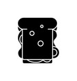 sandwich black icon sign on isolated vector image vector image