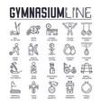 set gymnasium thin line icons sport logos vector image vector image