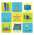 set of renewable energy flat style icons vector image
